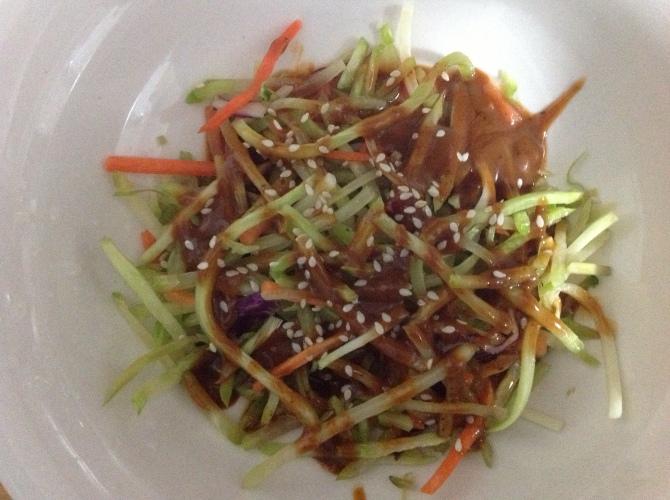 Broccoli and carrot slaw with thai peanut sauce