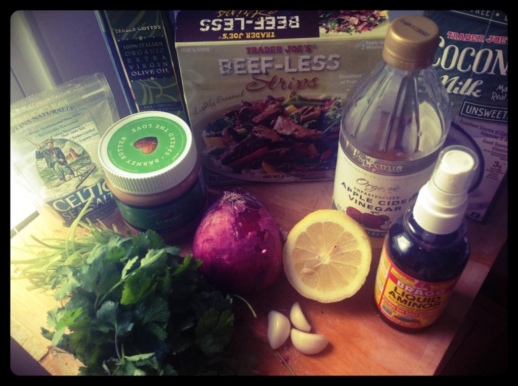 "Anatomy of a Dish: Almond butter, EVOO, Trader Joe's ""Beefless"" strips (seitan), cilantro, almond butter, red onion, garlic, lemon, vinaiger and Braggs amino acids"